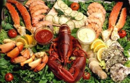 морепродукты и зелень