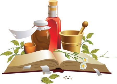рисунок книги флакончиков и растений