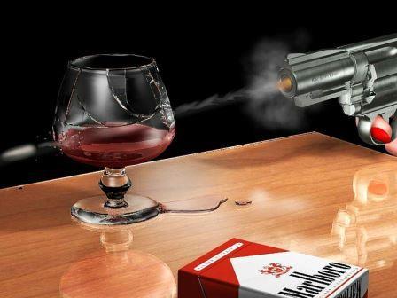 прострел бокала вина