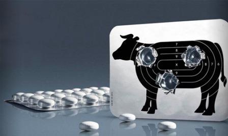 таблетки и мишень корова