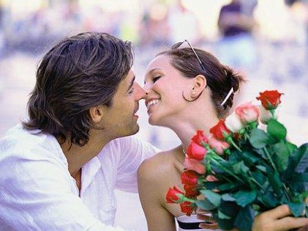 мужчина женщина и цветы
