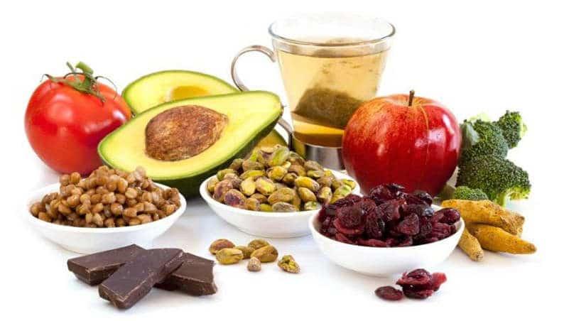 орехи, чай, фрукты и овощи