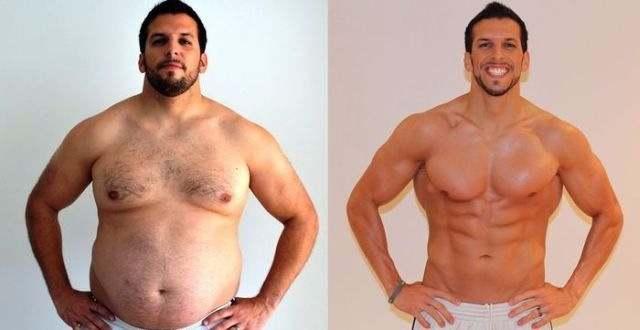 спортсмен до тренировок и после