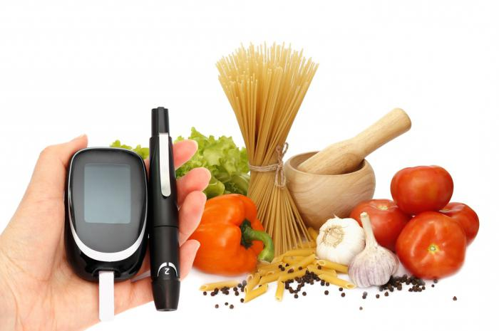 продукты и глюкометр в руке